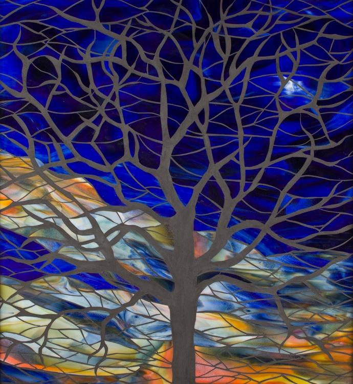 Mosaic Tree at Sunset
